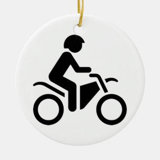 Motorcycle Symbol Round Ceramic Decoration