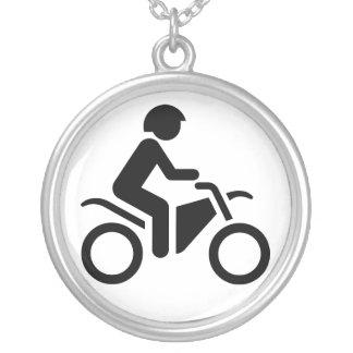 Motorcycle Symbol Round Pendant Necklace