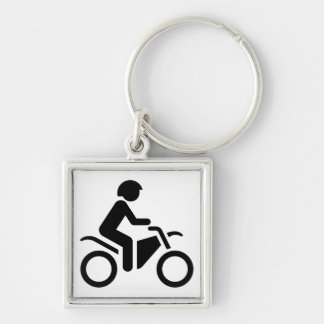 Motorcycle Symbol Silver-Colored Square Key Ring