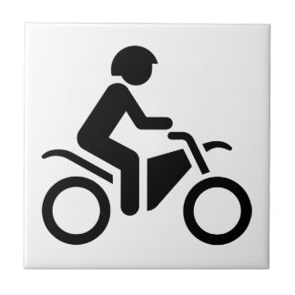 Motorcycle Symbol Small Square Tile