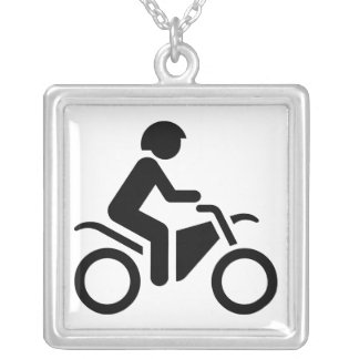 Motorcycle Symbol Square Pendant Necklace