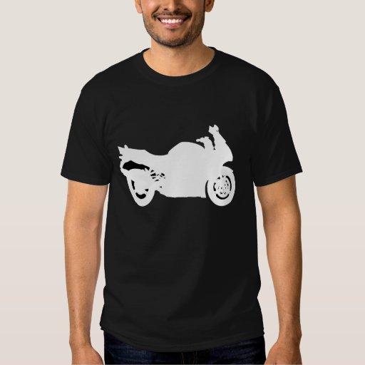Motorcycle T-Shirt White on Black