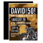 Motorcycle theme, 50th birthday, Gold and black Card