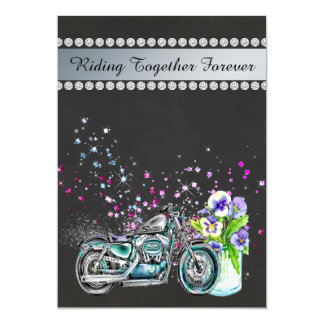 Motorcycle Wedding Invitation with Mason Jar