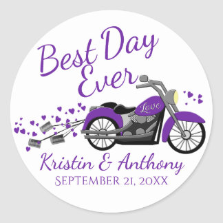 Motorcycle Wedding Purple and Gray Classic Round Sticker