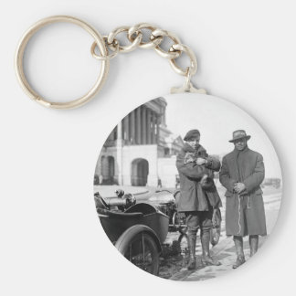 Motorcycle with Sidecar, 1918 Basic Round Button Key Ring