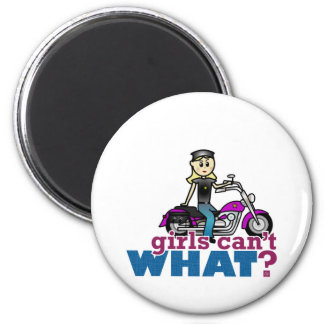 Motorcycle Woman 6 Cm Round Magnet