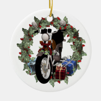 Motorcycle Wreath and Gifts Round Yule Ornament