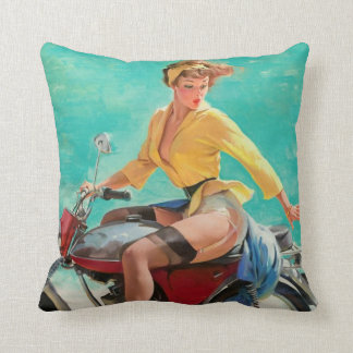 Motorcycles and pinups cushion