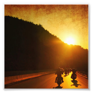 Motorcycles at Sunset Photo Print