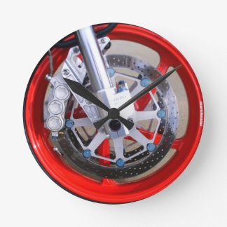 Motorcycles Motorcycle Wheel Red Rims Photo Round Clock