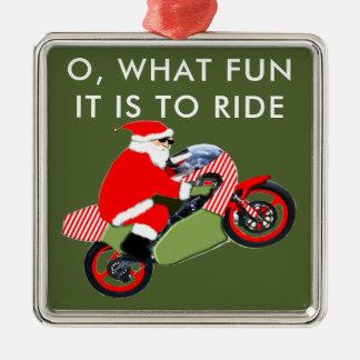 motorcyclist Santa Silver-Colored Square Decoration