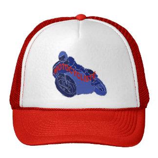 MOTORCYLCIST WRITTEN IN RED MESH HAT