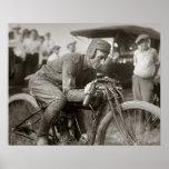 Motorcyle Racer, 1922. Vintage Photo Poster