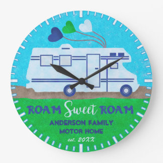 Motorhome RV Camper Roam Personalized Name V2 Large Clock