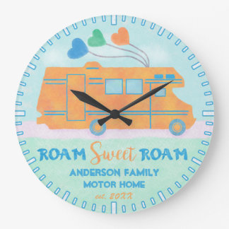 Motorhome RV Camper Sweet Roam Personalized Name Large Clock