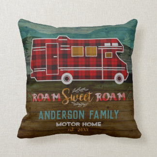 Motorhome RV Camper Travel Van Rustic Personalized Cushion