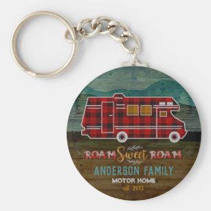 Motorhome RV Camper Travel Van Rustic Personalized Key Ring