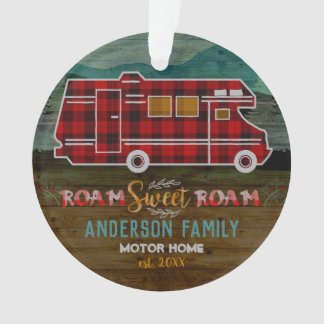 Motorhome RV Camper Travel Van Rustic Personalized Ornament