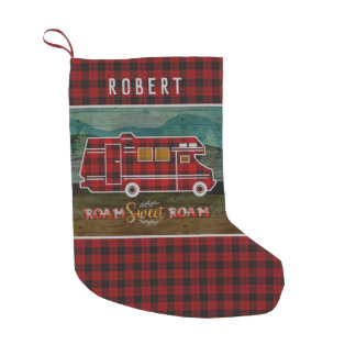 Motorhome RV Camper Travel Van Rustic Personalized Small Christmas Stocking