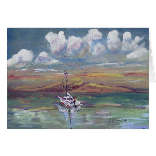 Motoring Home Acrylic Painting Seascape Card