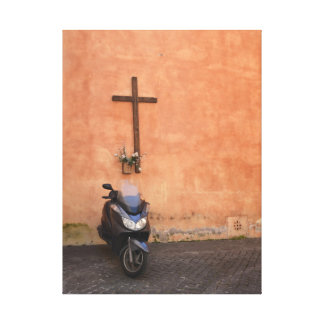 Motoroller before house wall in Rome - canvas Canvas Print