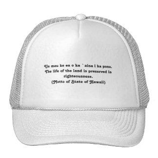 Motto of Hawaii Cap
