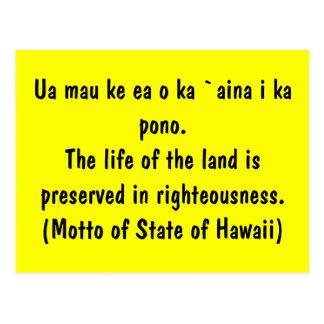 Motto of Hawaii Postcard