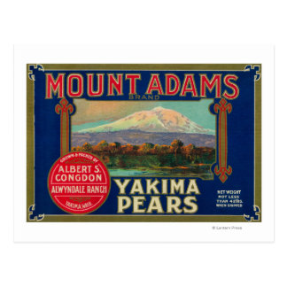 Mount Adams Pear Crate LabelYakima, WA Postcard