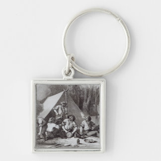 Mount Alexander gold-diggers at evening mess Silver-Colored Square Key Ring
