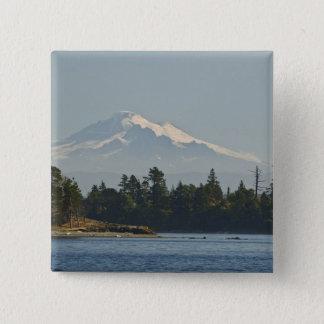 Mount Baker dominates landscape 15 Cm Square Badge