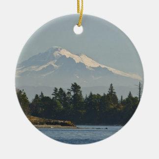 Mount Baker dominates landscape Round Ceramic Decoration
