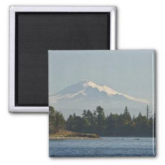 Mount Baker dominates landscape Square Magnet