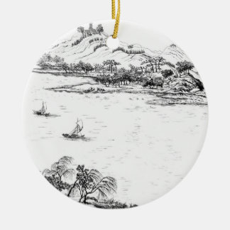 Mount Chang and Lake Chou, from 'Jardins Anglo-Chi Round Ceramic Decoration