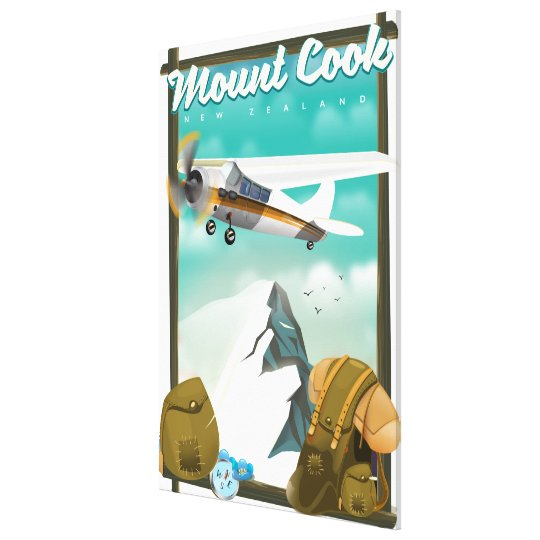 Mount Cook New Zealand travel poster Canvas Print