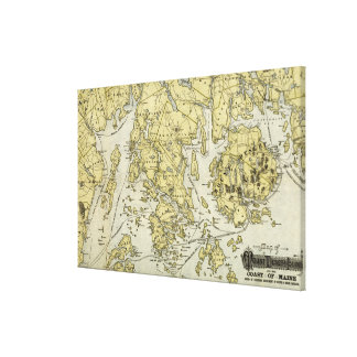 Mount Desert Island and Coast of Maine Map Stretched Canvas Print