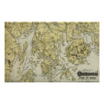 Mount Desert Island and Coast of Maine Map Poster
