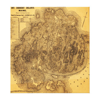 Mount Desert IslandPanoramic Map Gallery Wrap Canvas