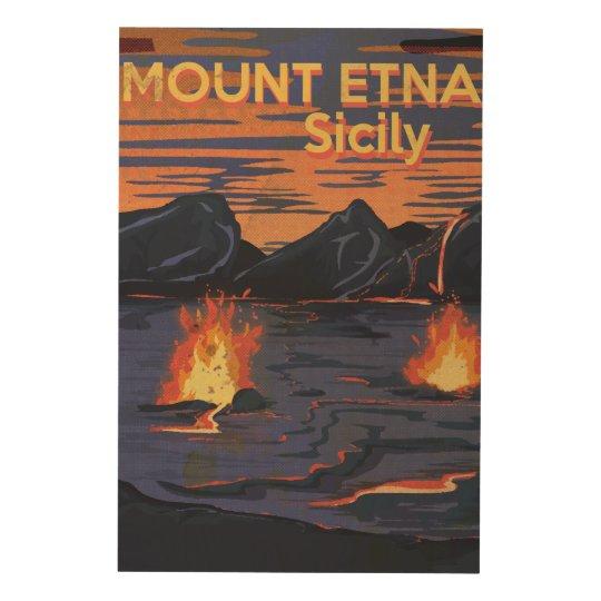 Mount Etna, Sicily vintage travel poster