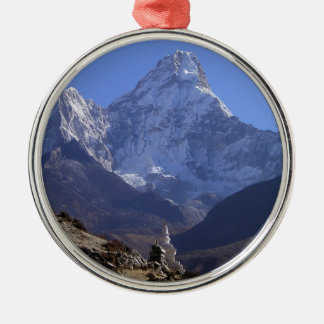 Mount Everest 4 Silver-Colored Round Decoration