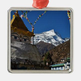 Mount Everest 8 Silver-Colored Square Decoration