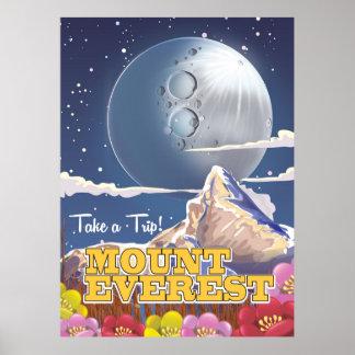 Mount Everest Cartoon travel poster