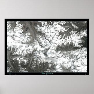 Mount Everest satellite poster photo print map