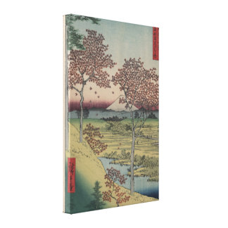 Mount Fiji and Maple Leaves - Vintage Japanese Canvas Print