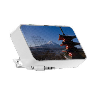 Mount Fuji and red pagoda iPhone Speaker
