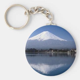 Mount Fuji and reflection in Lake Kawaguchi, Japan Key Ring