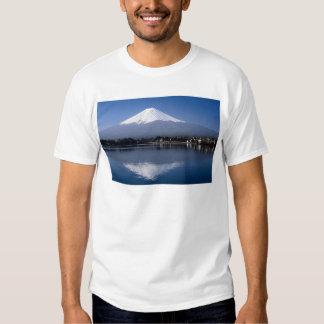 Mount Fuji and reflection in Lake Kawaguchi, Japan Tshirt