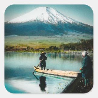 Mount Fuji from Lake Yamanaka 富士 Vintage Square Sticker