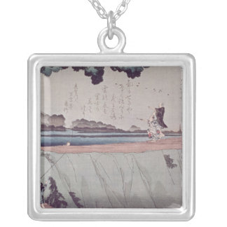 Mount Fuji from the Sumida River embankment Silver Plated Necklace
