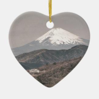 Mount Fuji, Japan Ceramic Heart Decoration